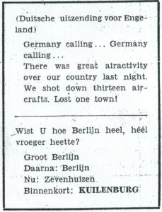 Waterman, Willem - Duitsche uitzending voor Engeland