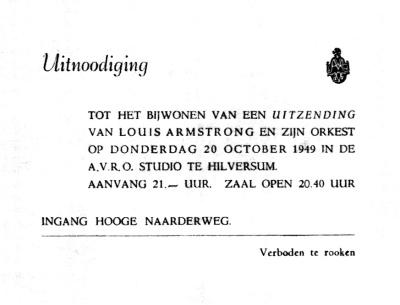 Haagse jazzscene - uitnodiging concert Louis Armstrong
